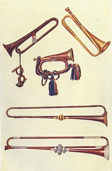 Associate Product MUSICAL INSTRUMENTS. Cav. Bugle, Tassels Trumpet, Embossed Trumpets 1945 print