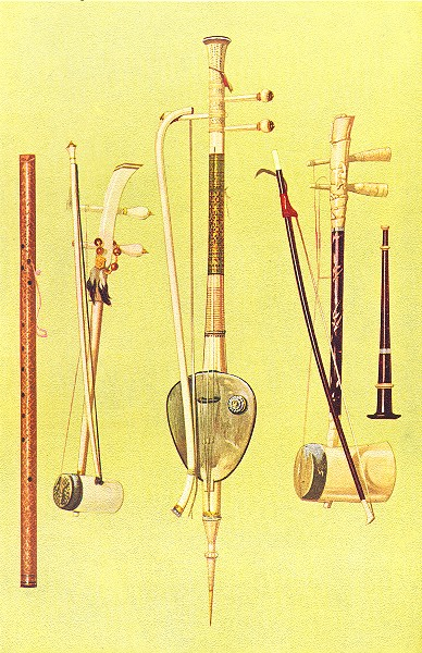 Associate Product MUSICAL INSTRUMENTS. Saw Duang & Bow Tai & oo & Klui Pee 1945 old print