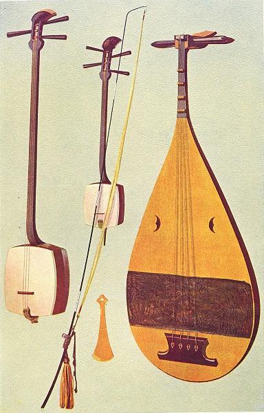 Associate Product MUSICAL INSTRUMENTS. Siamisen, Kokiu, Biwa 1945 old vintage print picture