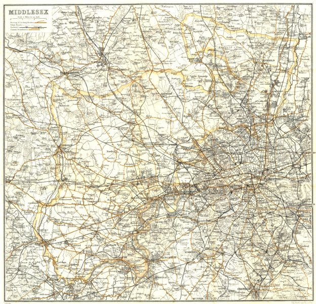 Associate Product MIDDLESEX. Description of Places in arranged alphabetically 1906 old map