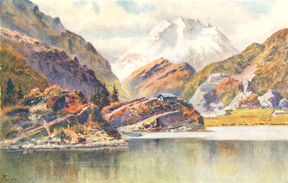 Associate Product SWITZERLAND. Isola. Lago di Cavloccio 1907 old antique vintage print picture