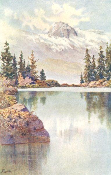 Associate Product SWITZERLAND. Isola. Lago di Bitabergo 1907 old antique vintage print picture