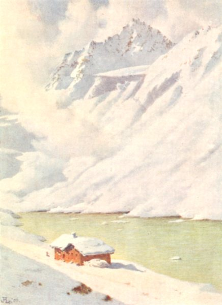 Associate Product SWITZERLAND. Isola. The Schwartzhorn from the Fluela Hospice 1907 old print
