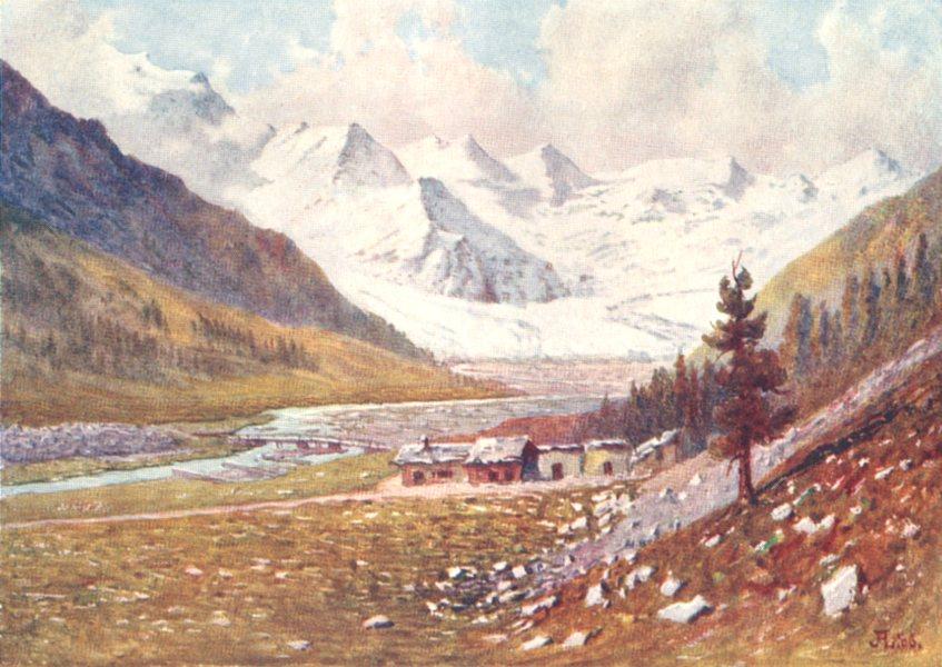 Associate Product SWITZERLAND. The Rosegg and Morteratsch Valleys. The Roseg Glacier 1907 print