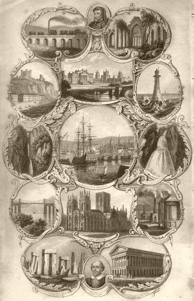 Associate Product UK. Manchester;Tintern;Dover;Blenheim;Eddystone;Portsmouth;Scarsdale;Menai  1845