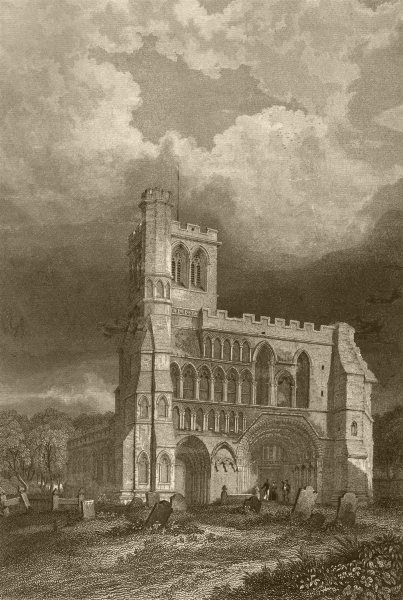 Associate Product BEDFORDSHIRE. Dunstable Priory Church(West front). DUGDALE 1845 old print