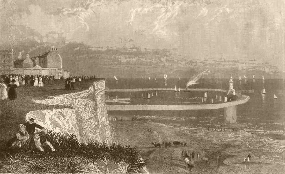 Associate Product KENT. Ramsgate Harbour. DUGDALE 1845 old antique vintage print picture