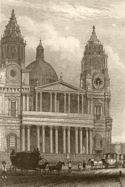 Associate Product LONDON. St Paul's Cathedral. DUGDALE 1845 old antique vintage print picture
