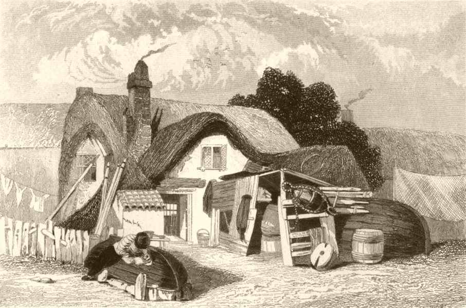 Associate Product SUFFOLK. The house in which Crabbe, the poet, was born. DUGDALE 1845 old print