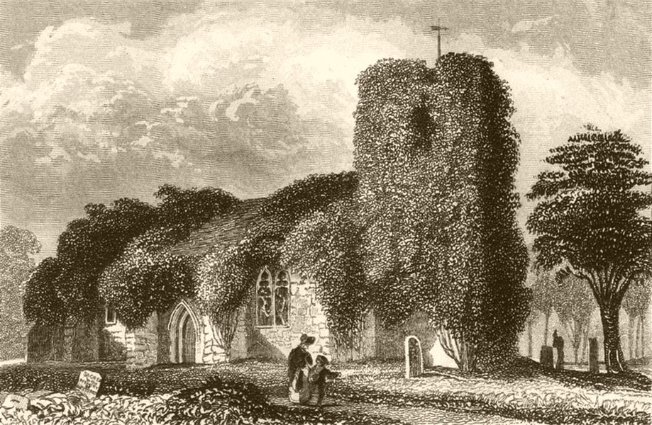 Associate Product LONDON. Chingford Church. DUGDALE 1845 old antique vintage print picture