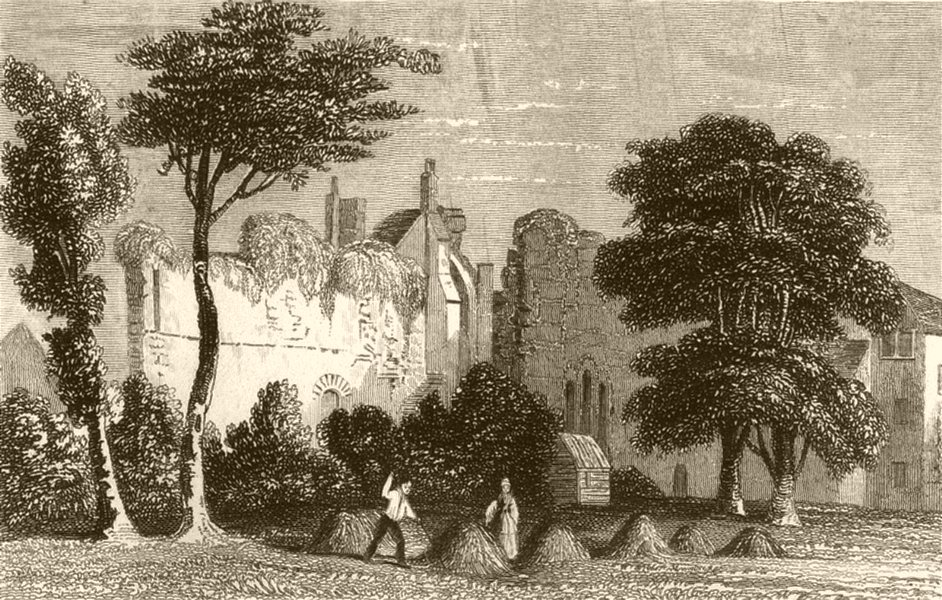 Associate Product SUFFOLK. Remains of the Monastery, Bury St Edmund's. DUGDALE 1845 old print