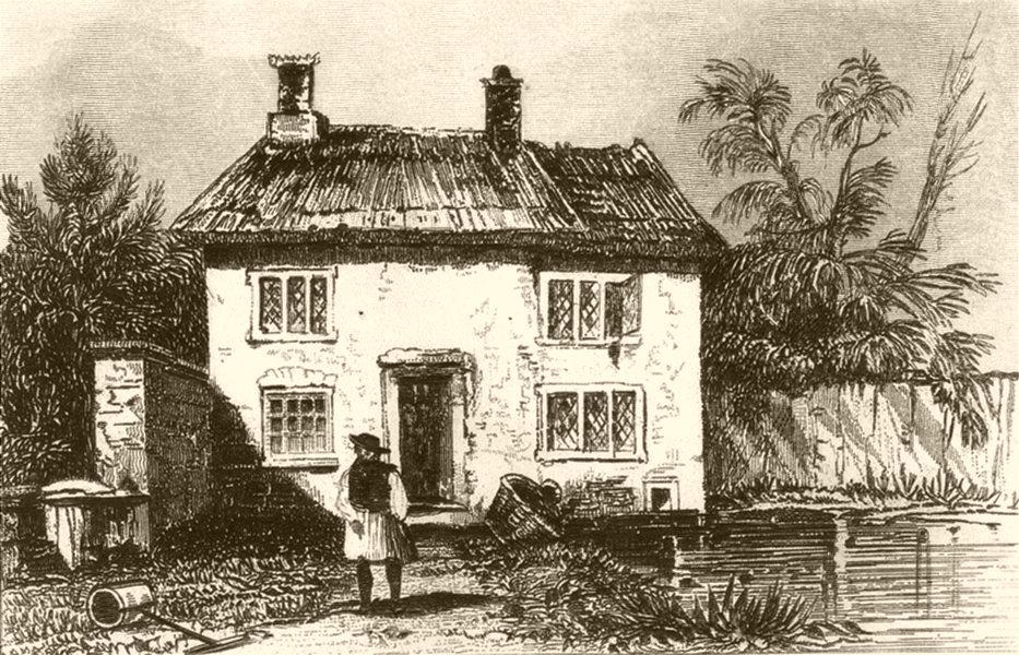 SOMERSET. Birth place of John Locke, Wrington. DUGDALE 1845 old antique print