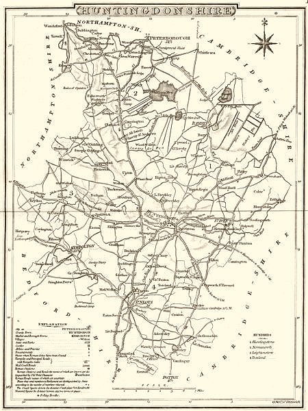 Associate Product HUNTINGDONSHIRE. County map. Polling places. Coach roads. DUGDALE 1845 old