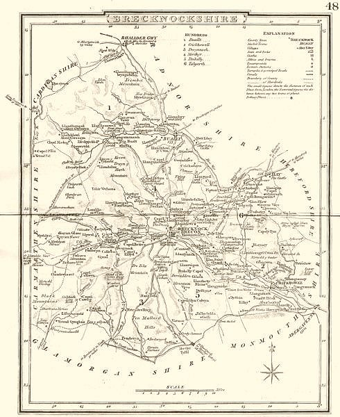 Associate Product BRECKNOCKSHIRE. County map. Polling places. Coach roads. DUGDALE 1845 old
