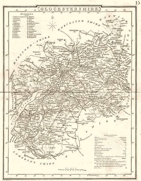Associate Product GLOUCESTERSHIRE. County map. Polling places. Coach roads. DUGDALE 1845 old