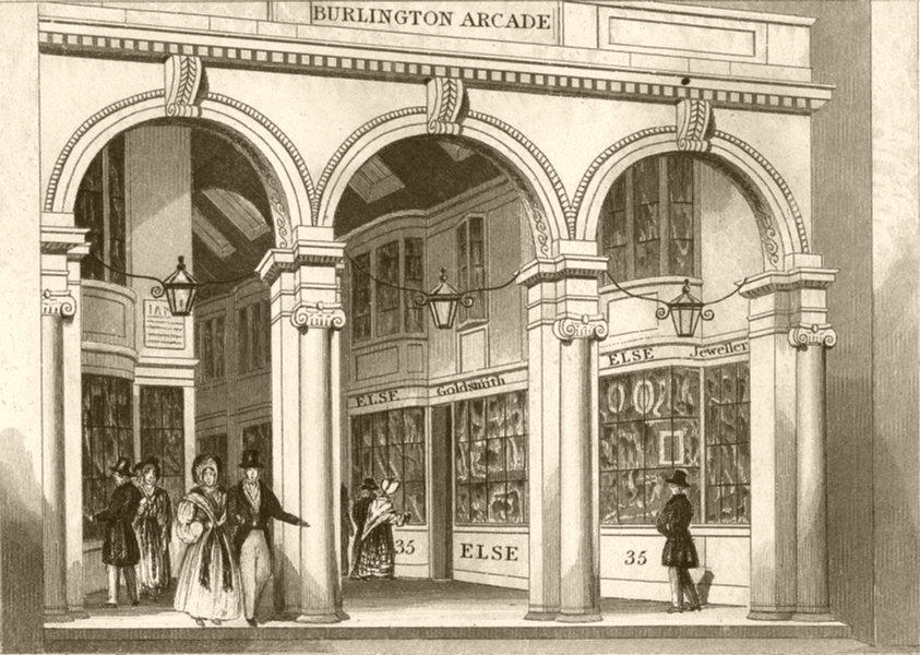 Associate Product LONDON. North Entrance of Burlington Arcade, London. DUGDALE 1845 old print