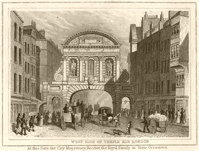 LONDON. West Side of Temple Bar London. DUGDALE 1845 old antique print picture