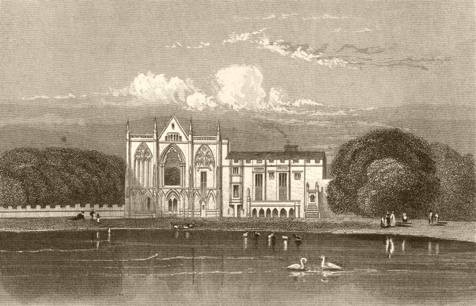 Associate Product NOTTINGHAMSHIRE. Newstead Abbey. DUGDALE 1845 old antique print picture