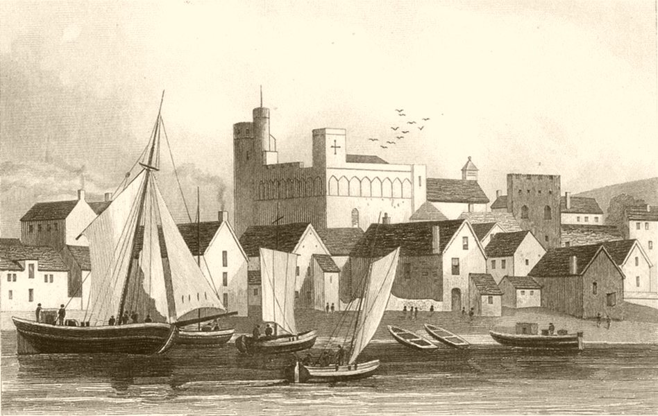 Associate Product WALES. Swansea Castle and Harbour, Glamorganshire. DUGDALE 1845 old print
