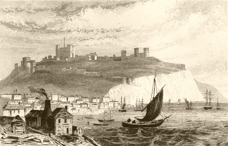 Associate Product KENT. Dover, from the Beach. DUGDALE 1845 old antique vintage print picture