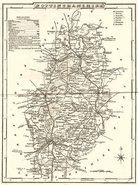 Associate Product NOTTINGHAMSHIRE. County map. Polling places. Coach roads. DUGDALE 1845 old