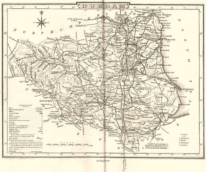 Associate Product DURHAM. County map. Polling places. Coach roads. DUGDALE 1845 old antique