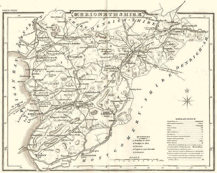 Associate Product MERIONETHSHIRE. County map. Polling places. Coach roads. DUGDALE 1845 old