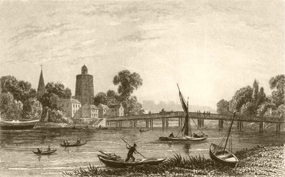 Associate Product LONDON. Battersea Bridge. DUGDALE 1845 old antique vintage print picture