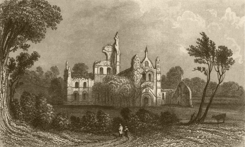 Associate Product YORKSHIRE. Kirkstall Abbey, near Leeds. DUGDALE 1845 old antique print picture