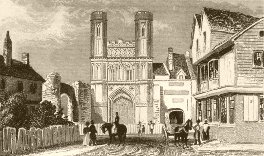 Associate Product KENT. St Augustine's Gate, Canterbury. DUGDALE 1845 old antique print picture