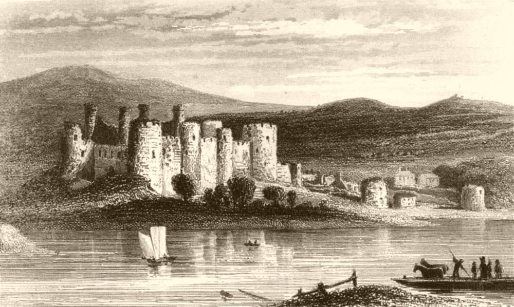 Associate Product WALES. Conwy Castle. DUGDALE 1845 old antique vintage print picture