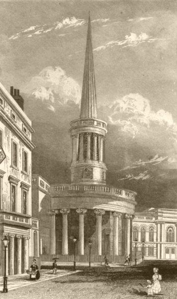 Associate Product LONDON. All-Souls Church, Langham Place, London. DUGDALE 1845 old print