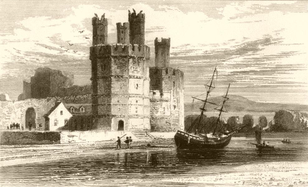 Associate Product WALES. Caernarvon Castle, Eagle's Tower. DUGDALE 1845 old antique print