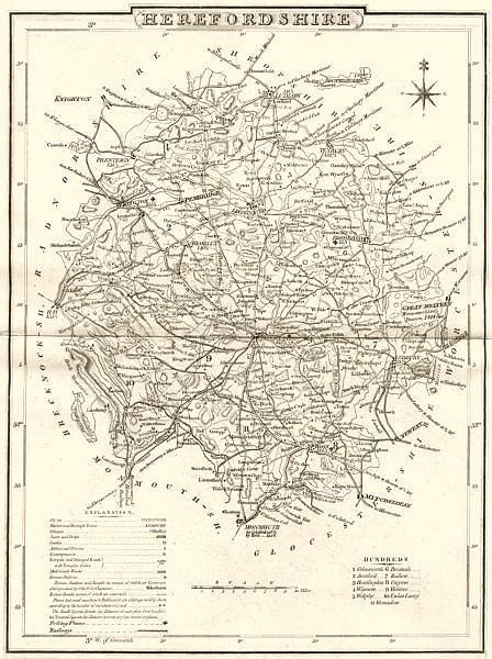 Associate Product HEREFORDSHIRE. County map. Polling places. Coach roads. DUGDALE 1845 old