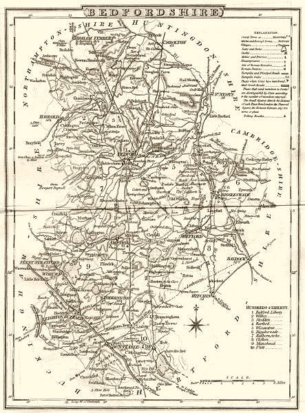 Associate Product BEDFORDSHIRE. County map. Polling places. Coach roads. DUGDALE 1845 old