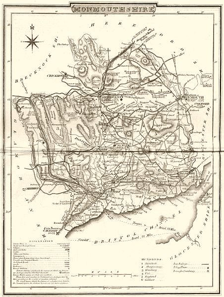 Associate Product MONMOUTH. County map. Polling places. Coach roads. DUGDALE 1845 old