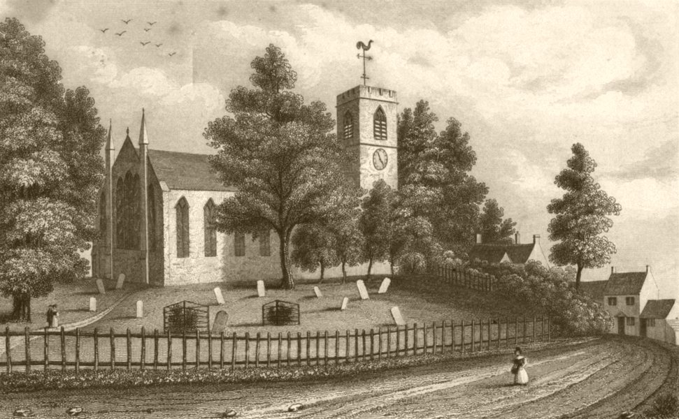 Associate Product WARWICKSHIRE. Harborne Church. DUGDALE 1845 old antique vintage print picture