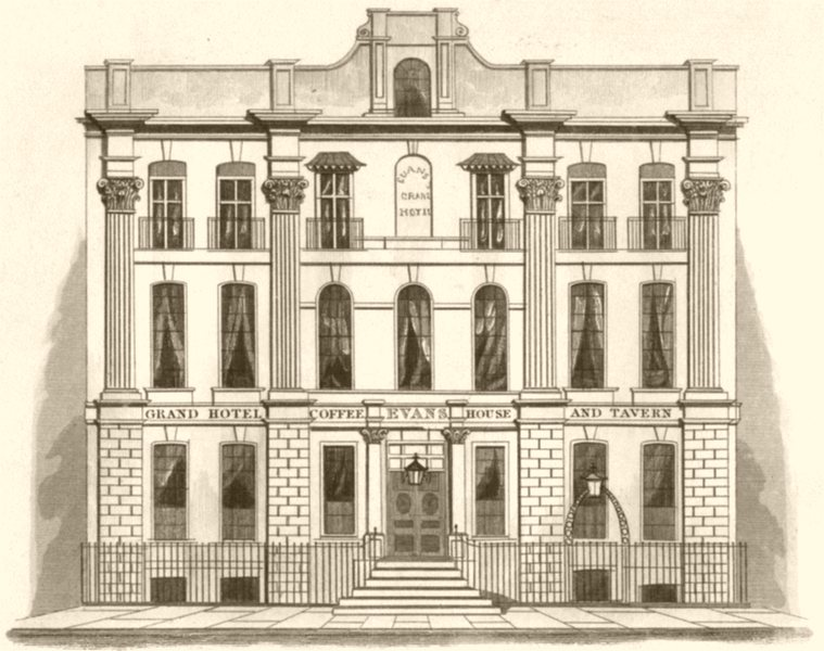 Associate Product LONDON. The Grand hotel, Covent Garden, London. DUGDALE 1845 old antique print