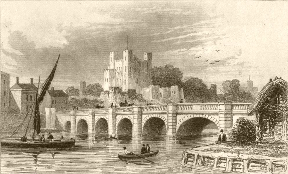 Associate Product KENT. Rochester Castle and Bridge, Kent. DUGDALE 1845 old antique print