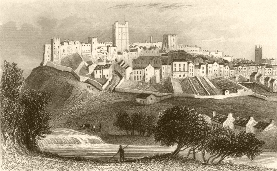 Associate Product YORKSHIRE. Richmond, Yorkshire, Town and Castle. DUGDALE 1845 old print
