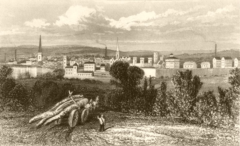 Associate Product LEICESTERSHIRE. Town of Leicester, Leicestershire. DUGDALE 1845 old print