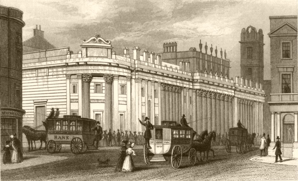 Associate Product LONDON. Bank of England. DUGDALE 1845 old antique vintage print picture