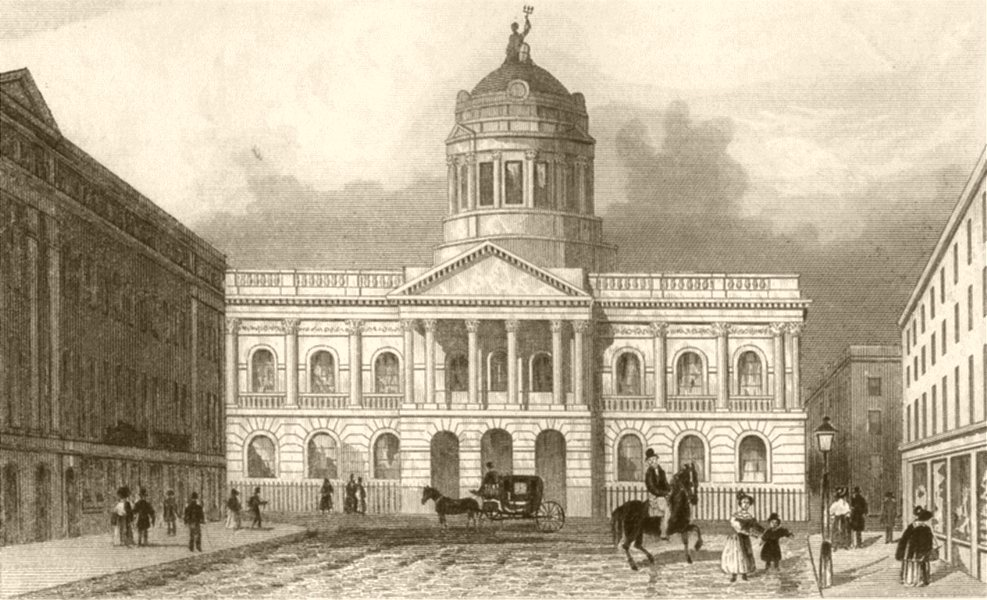 Associate Product LONDON. Town hall and Mansion house, Liverpool. DUGDALE 1845 old antique print