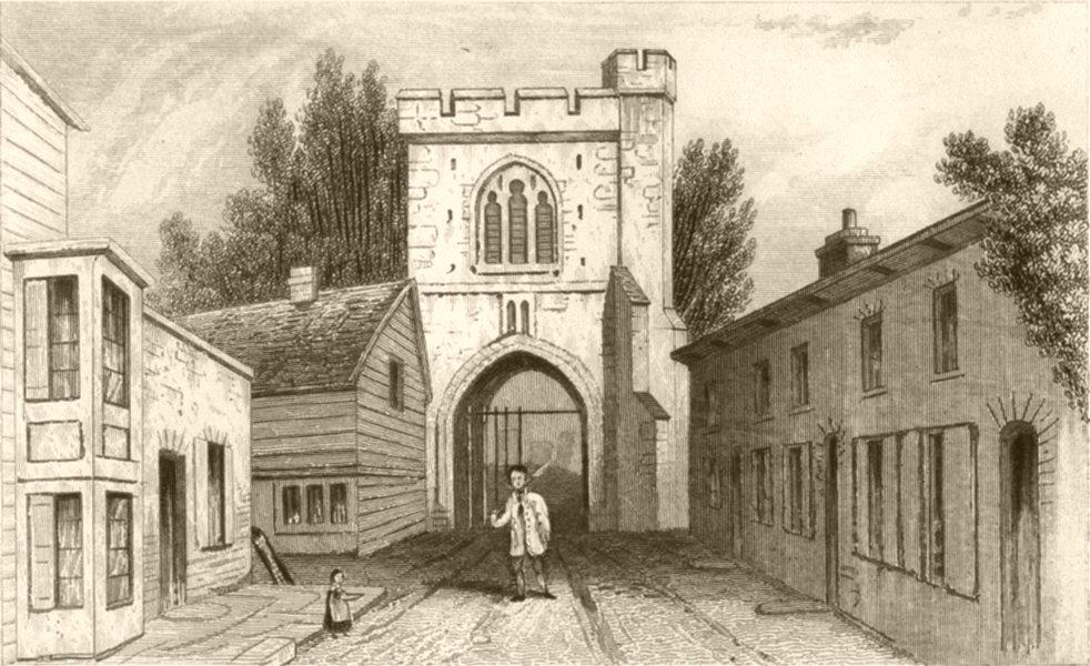 Associate Product LONDON. An Ancient Gateway, Barking, Essex. DUGDALE 1845 old antique print