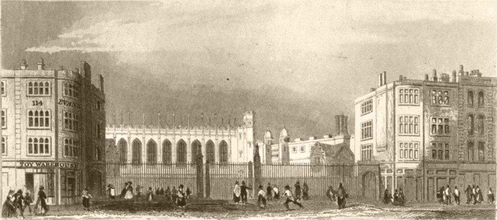 Associate Product LONDON. Christ's Hospital hall. DUGDALE 1845 old antique vintage print picture