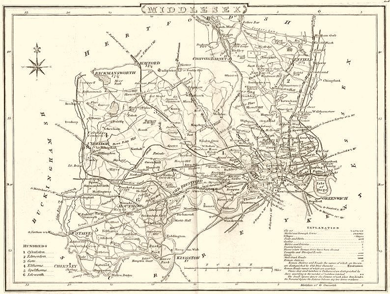 Associate Product MIDDLESEX. County map. Polling places. Coach roads. DUGDALE 1845 old