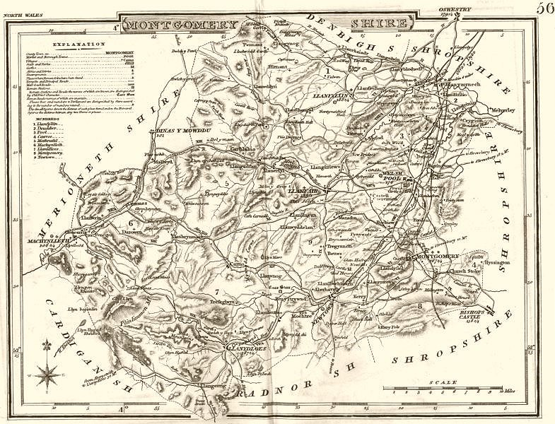 Associate Product MONTGOMERYSHIRE. County map. Polling places. Coach roads. DUGDALE 1845 old