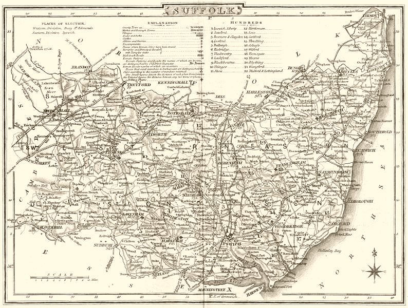 Associate Product SUFFOLK. County map. Polling places. Coach roads. DUGDALE 1845 old antique