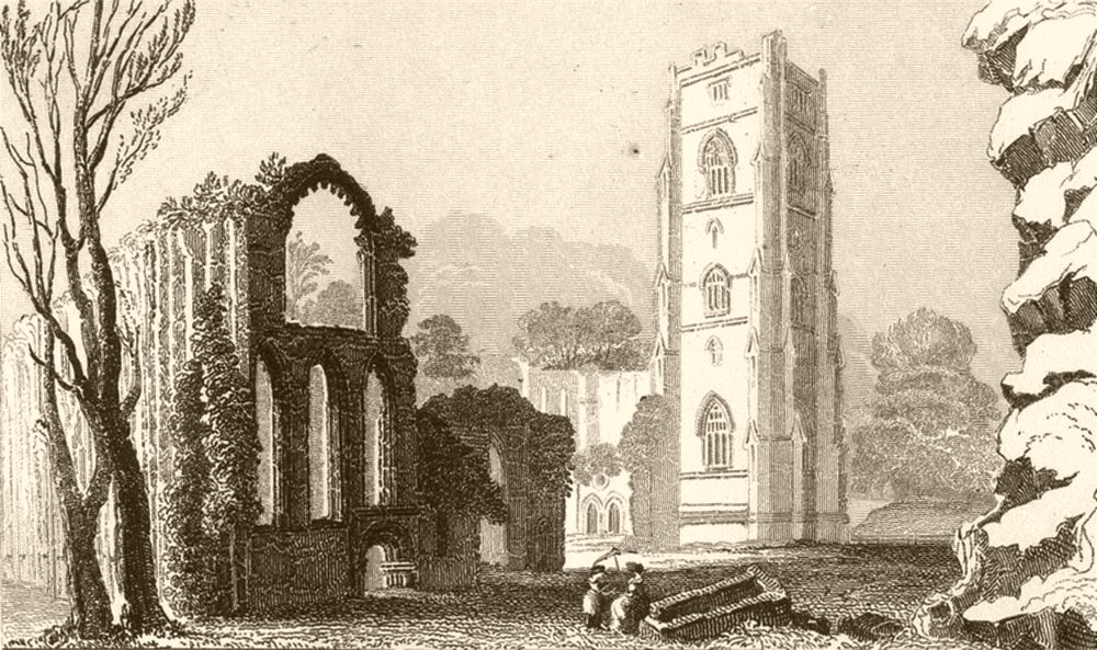 Associate Product YORKSHIRE. Fountains Abbey, Yorkshire. DUGDALE 1845 old antique print picture