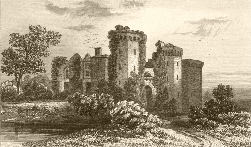 Associate Product WALES. Raglan Castle, Monmouthshire. DUGDALE 1845 old antique print picture